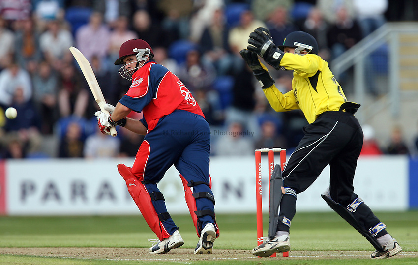 Photo: Rich Eaton...Glamorgan v Somerset. The Twenty20 Cup. 26/06/2007. Somerset's Matthew Wood cuts past Glamorgan's wicket keeper Mark Wallace.