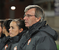20131031 - ANTWERPEN , BELGIUM : Portugese coach Antonio Violante pictured during the female soccer match between Belgium and Portugal , on the fourth matchday in group 5 of the UEFA qualifying round to the FIFA Women World Cup in Canada 2015 at Het Kiel stadium , Antwerp . Thursday 31st October 2013. PHOTO DAVID CATRY