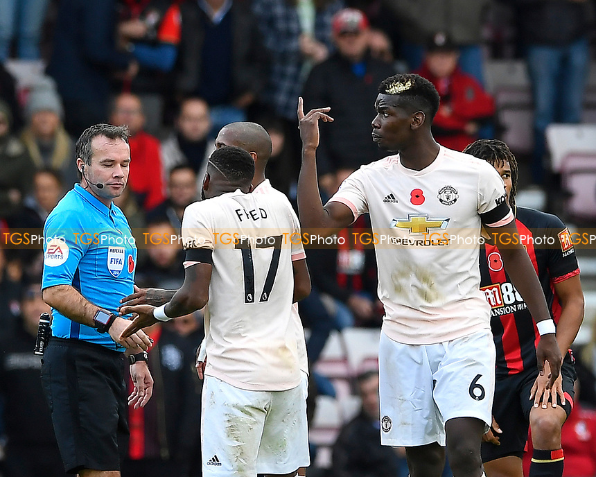 Paul Pogba of Manchester United right reacts to a call by Referee Paul Tierney  during AFC Bournemouth vs Manchester United, Premier League Football at the Vitality Stadium on 3rd November 2018