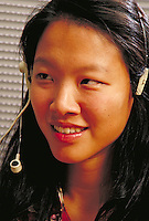 Asian Woman Telemarketing, portrait, smiling, telecommunications, headset, occupations.