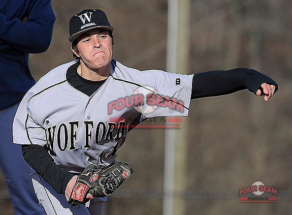 Starting pitcher Dominick Del Monte (14) of the Wofford Terriers warms up in the bullpen prior to a game against the USC Upstate Spartans on Wednesday, March 27, 2013, at Cleveland S. Harley Park in Spartanburg, South Carolina. Wofford won, 12-11.(Tom Priddy/Four Seam Images)