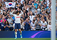 Son Heung-Min of Tottenham Hotspur celebrates scoring the opening goal during the Premier League match between Tottenham Hotspur and Crystal Palace at Wembley Stadium, London, England on 14 September 2019. Photo by Vince  Mignott / PRiME Media Images.