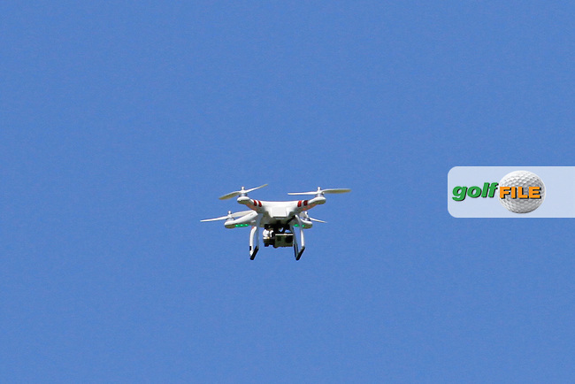 A flying camera above the 18th green during the Pro-Am in The Open De Espana at The PGA Catalunya Resort on Wednesday 14th May 2014.<br /> Picture:  Thos Caffrey / www.golffile.ie