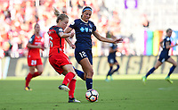Orlando, FL - Saturday October 14, 2017: Emily Sonnett, Ashley Hatch during the NWSL Championship match between the North Carolina Courage and the Portland Thorns FC at Orlando City Stadium.