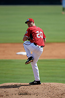 Carolina Mudcats pitcher Christian Taugner (20) during a Carolina League game against the Winston-Salem Dash on August 14, 2019 at Five County Stadium in Zebulon, North Carolina.  Winston-Salem defeated Carolina 4-2.  (Mike Janes/Four Seam Images)