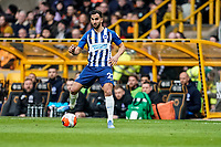 7th March 2020; Molineux Stadium, Wolverhampton, West Midlands, England; English Premier League, Wolverhampton Wanderers versus Brighton and Hove Albion; Martín Montoya of Brighton & Hove Albion passes the ball back to his central defence