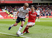 Bolton Wanderers' Harry Brockbank competing with Nottingham Forest's Ryan Yates <br /> <br /> Photographer Andrew Kearns/CameraSport<br /> <br /> The EFL Sky Bet Championship - Nottingham Forest v Bolton Wanderers - Sunday 5th May 2019 - The City Ground - Nottingham<br /> <br /> World Copyright © 2019 CameraSport. All rights reserved. 43 Linden Ave. Countesthorpe. Leicester. England. LE8 5PG - Tel: +44 (0) 116 277 4147 - admin@camerasport.com - www.camerasport.com