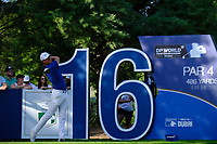 Lucas Bjerregaard (DEN) on the 16th tee during the 1st round of the DP World Tour Championship, Jumeirah Golf Estates, Dubai, United Arab Emirates. 15/11/2018<br /> Picture: Golffile | Fran Caffrey<br /> <br /> <br /> All photo usage must carry mandatory copyright credit (© Golffile | Fran Caffrey)