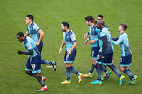 Teammates celebrate with penalty goalscorer Joe Jacobson of Wycombe Wanderers during the Sky Bet League 2 match between Wycombe Wanderers and Yeovil Town at Adams Park, High Wycombe, England on 14 January 2017. Photo by PRiME Media Images.