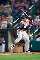 Rochester Red Wings shortstop Jorge Polanco (12) at bat during a game against the Lehigh Valley IronPigs on June 29, 2018 at Frontier Field in Rochester, New York.  Lehigh Valley defeated Rochester 2-1.  (Mike Janes/Four Seam Images)