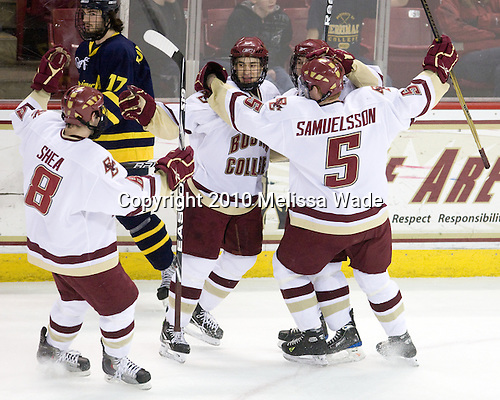 Edwin Shea (BC - 8), Matt Lombardi (BC - 24), Matt Price (BC - 25), Philip Samuelsson (BC - 5) - The Boston College Eagles defeated the Merrimack College Warriors 7-0 on Tuesday, February 23, 2010 at Conte Forum in Chestnut Hill, Massachusetts.