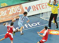 18.01.2013 Barcelona, Spain. IHF men's world championship, prelimanary round. Picture show Federico Gastón Fernández   in action during game between Arnetina vs Tunisia at Palau St Jordi