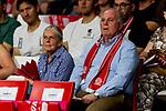 02.06.2019, Audi Dome, Muenchen, GER, BBL Playoff Halbfinale , FC Bayern Muenchen vs. SC Rasta Vechta<br /> , im Bild Uli Hoeness (Praesident FCB) mit Susanne Hoeness<br /> <br />  Foto © nordphoto / Straubmeier