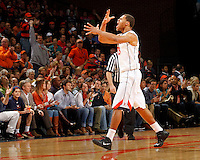 Virginia guard Justin Anderson (23) reacts to a play during the game against Maryland Sunday in Charlottesville, VA. Virginia defeated Maryland in overtime 61-58. Photo/Andrew Shurtleff
