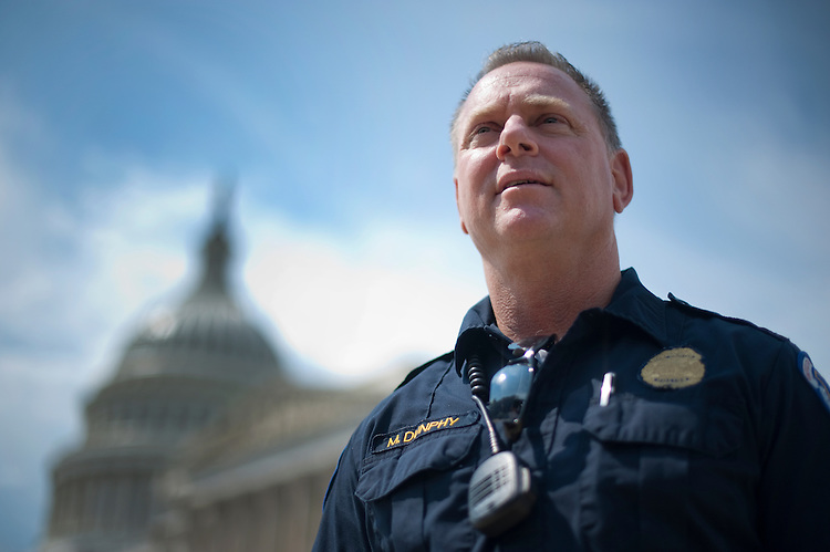 UNITED STATES - August 29: United States Capitol Hill Policemen Mike Dunphy poses for a photo on the East Front of the U.S. Capitol. Dunphy was talking to Roll Call about being a witness during the 911 attacks.  (Photo By Douglas Graham/Roll Call)
