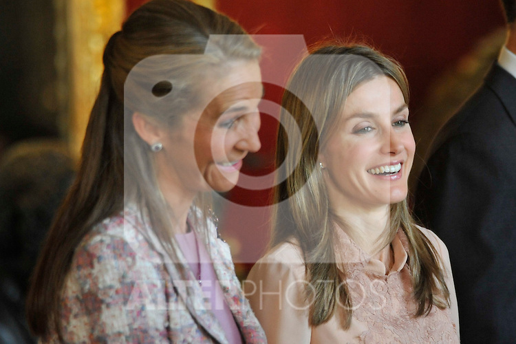 Spanish King Juan Carlos, Queen Sofia, Princes Felipe, Princess Letizia, Princess Elena, Princess Cristina and Inaqui Urdangarin attend the Reception at Royal Palace during Spanish National Day on October 12, 2010 in Madrid..Photo: Pool Gegundez / ALFAQUI