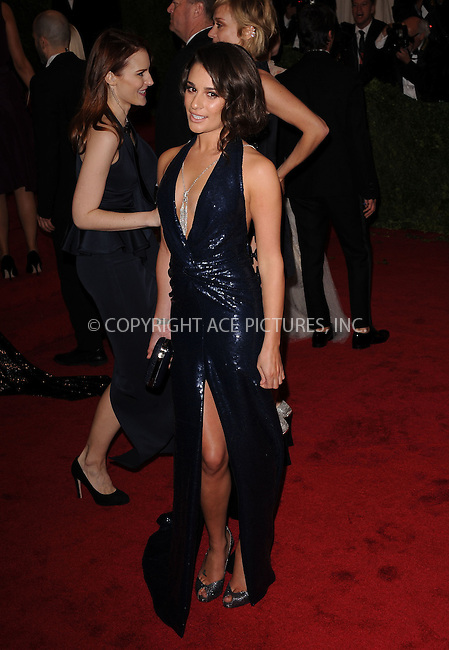 WWW.ACEPIXS.COM . . . . . ....May 7 2012, New York City....Lea Michele arriving at the 'Schiaparelli And Prada: Impossible Conversations' Costume Institute Gala at the Metropolitan Museum of Art on May 7, 2012 in New York City.....Please byline: KRISTIN CALLAHAN - ACEPIXS.COM.. . . . . . ..Ace Pictures, Inc:  ..(212) 243-8787 or (646) 679 0430..e-mail: picturedesk@acepixs.com..web: http://www.acepixs.com