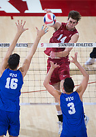 STANFORD, CA - March 2, 2019: Kyler Presho at Maples Pavilion. The Stanford Cardinal defeated BYU 25-20, 25-20, 22-25, 25-21.