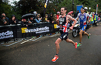 15 SEP 2013 - LONDON, GBR - Alistair Brownlee (GBR) (left) of Great Britain leads Aurelien Raphael (FRA) (right) of France on the first run lap at the elite men's ITU 2013 World Triathlon Series Grand Final in Hyde Park, London, Great Britain (PHOTO COPYRIGHT © 2013 NIGEL FARROW, ALL RIGHTS RESERVED)