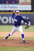 High Point Panthers starting pitcher Tyler Britton (4) delivers a pitch to the plate against the UNCG Spartans at Willard Stadium on February 14, 2015 in High Point, North Carolina.  The Panthers defeated the Spartans 12-2.  (Brian Westerholt/Four Seam Images)