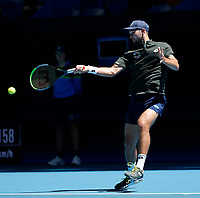 7th January 2020; RAC Arena, Perth, Western Australia; ATP Cup Australia, Perth, Day 5; Russia versus Norway; Viktor Durasovic of Norway plays a forehand shot against Karen Khachanov of Russia - Editorial Use