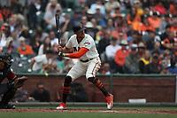 SAN FRANCISCO, CA - APRIL 11:  Hunter Pence #8 of the San Francisco Giants bats against the Arizona Diamondbacks during the game at AT&T Park on Wednesday, April 11, 2018 in San Francisco, California. (Photo by Brad Mangin)