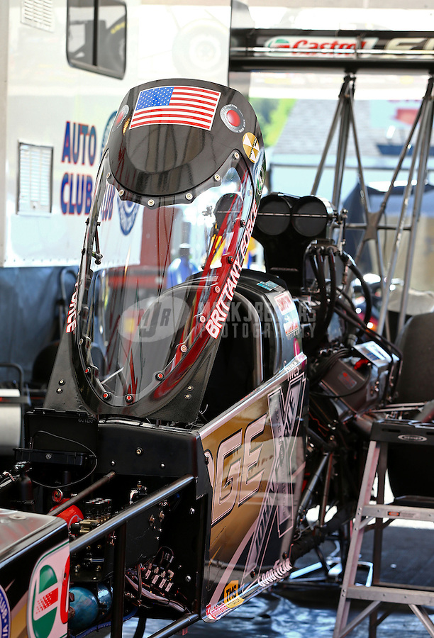 June 1, 2014; Englishtown, NJ, USA; Detailed view of the canopy on the dragster of NHRA top fuel driver Brittany Force during qualifying for the Summernationals at Raceway Park. Mandatory Credit: Mark J. Rebilas-