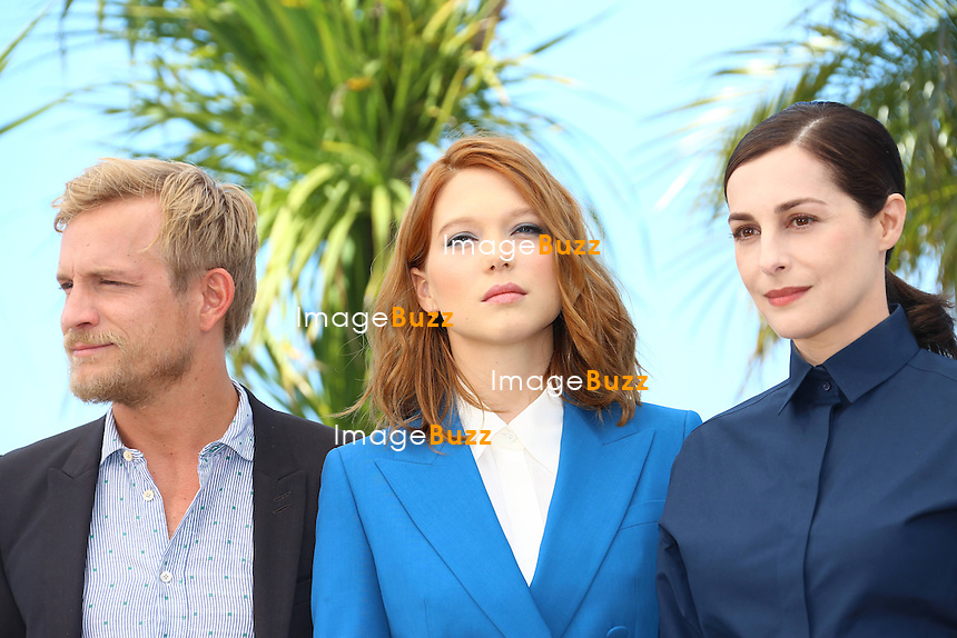 "CPE/ Jeremie Renier, Lea Seydoux and Amira Casar pose during a photocall for the film ""Saint-Laurent"" at the 67th edition of the Cannes Film Festival in Cannes, southern France, on May 17, 2014"