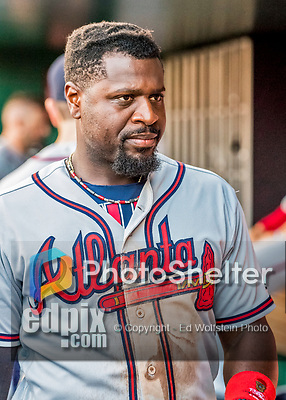 8 July 2017: Atlanta Braves infielder Brandon Phillips in the dugout during a game against the Washington Nationals at Nationals Park in Washington, DC. The Braves shut out the Nationals 13-0 to take the third game of their 4-game series. Mandatory Credit: Ed Wolfstein Photo *** RAW (NEF) Image File Available ***