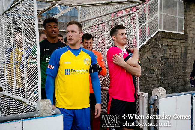 Liam McFadyen of Stocksbridge and Nick Thompson of Pickering wait to lead their teams out. Stocksbridge Park Steels v Pickering Town, Evo-Stik East Division, 17th November 2018. Stocksbridge Park Steels were born from the works team of the local British Steel plant that dominates the town north of Sheffield.<br /> Having missed out on promotion via the play offs in the previous season, Stocksbridge were hovering above the relegation zone in Northern Premier League Division One East, as they lost 0-2 to Pickering Town. Stocksbridge finished the season in 13th place.