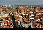 Rooftops of Bruges, North View from Belfort Bell Tower, Bruges, Brugge, Belgium