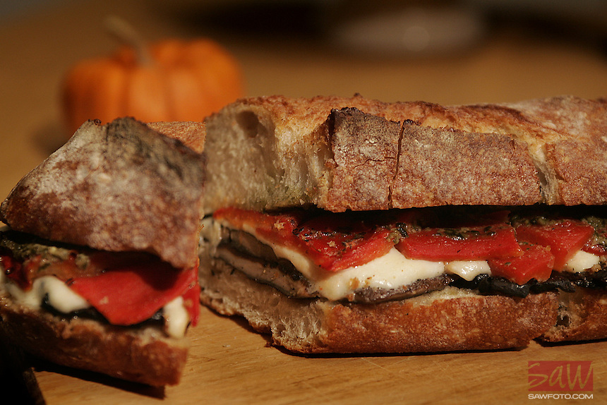 Pot Luck; Portabello Mushroom Sandwich. Photographed in the Times studio September 18, 2007.