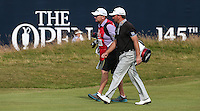 Graeme McDowell (NIR) and caddie Ken Comboy head to the last during Round One of the 145th Open Championship, played at Royal Troon Golf Club, Troon, Scotland. 14/07/2016. Picture: David Lloyd | Golffile.<br /> <br /> All photos usage must carry mandatory copyright credit (&copy; Golffile | David Lloyd)