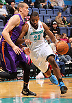 SIOUX FALLS, SD - FEBRUARY 19:  Demetris Nichols #23 from the Sioux Falls Skyforce drives against Ben Strong #32 from the Iowa Energy in the first half of their game Tuesday night at the Sioux Falls Arena. (Photo by Dave Eggen/Inertia)
