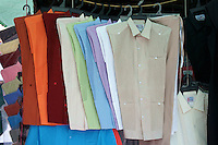 Guayabera shirts for sale in the Sunday market in the main square of Merida, Yucatan, Mexico.....