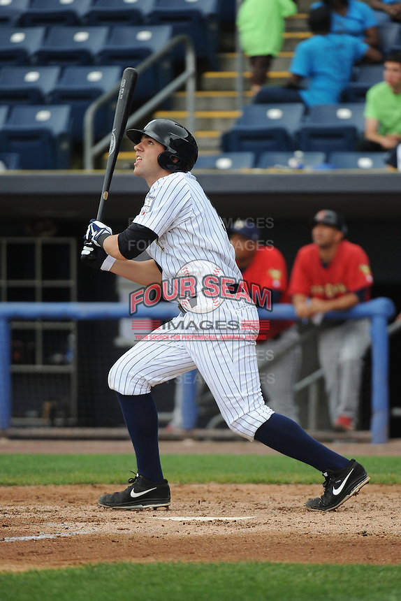 Staten Island Yankees infielder Eric Jagielo (14) during game against the State College Spikes at Richmond County Bank Ballpark at St.George on August 8, 2013 in Staten Island, NY.  Staten Island defeated State College 6-5.  (Tomasso DeRosa/Four Seam Images)