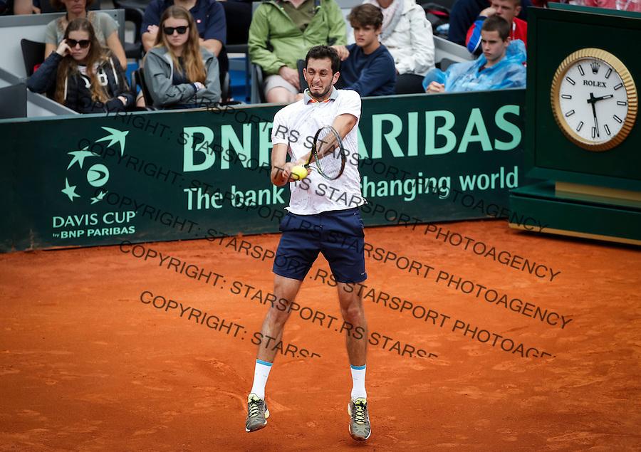 Davis Cup 2016 Quarter Final<br /> Srbija v Velika Britanija<br /> Dusan Lajovic SRB v James Ward GBR<br /> James Ward<br /> Beograd, 16.07.2016.<br /> Foto: Srdjan Stevanovic/Starsportphoto.com&copy;