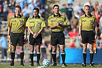 16 November 2013: Match Officials. From left: Assistant referee Carmen Serbio, Fourth official: Matthew Jozaitis, Referee Kai Goodrich, and Assistant referee Corey Rockwell. The University of North Carolina Tar Heels hosted the Liberty University Flames at Fetzer Field in Chapel Hill, NC in a 2013 NCAA Division I Women's Soccer Tournament First Round match. North Carolina won the game 4-0.