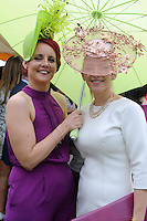 Pictured enjoying the summer fayre on the Ross Hotel / Lane Bar Champagne &amp; Cocktail Marquee at Killarney Races ladies Day on Thursday were from left,  Joanne Murphy and Elaine Kelleher, Kilgarvan..<br /> Picture by Don MacMonagle<br /> <br /> <br /> PR Photo from Ross Hotel