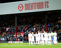 Brentford FC fans observe the minute's silence in front of Leeds United FC during the Sky Bet Championship match between Brentford and Leeds United at Griffin Park, London, England on 4 November 2017. Photo by Carlton Myrie.
