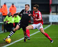 Lincoln City's Harry Anderson vies for possession with Crewe Alexandra's Harry Pickering<br /> <br /> Photographer Andrew Vaughan/CameraSport<br /> <br /> The EFL Sky Bet League Two - Crewe Alexandra v Lincoln City - Saturday 11th November 2017 - Alexandra Stadium - Crewe<br /> <br /> World Copyright &copy; 2017 CameraSport. All rights reserved. 43 Linden Ave. Countesthorpe. Leicester. England. LE8 5PG - Tel: +44 (0) 116 277 4147 - admin@camerasport.com - www.camerasport.com