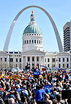 Former Vice-President Joe Biden speaks at a Get Out The Vote rally at Kiener Plaza in downtown St.Louis, Missouri, USA. Behind him is the Old Courthouse and in the distance, the stainless steel Gateway Arch.<br /> Tim VIZER/AFP