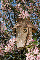 Garden birdhouse as art and bird homes, Missouri USA