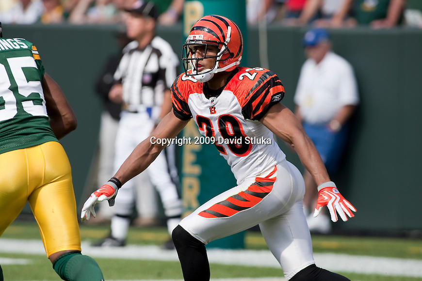 Cincinnati Bengals defensive back Leon Hall (29) during an NFL football game against the Green Bay Packers on September 20, 2009 in Green Bay, Wisconsin. The Bengals won the game 31-24. (AP Photo/David Stluka)