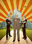 Conceptual illustration of business manager with executives standing in front of financial district depicting development
