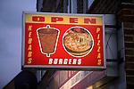 Open sign for fast food kebab burger and pizza take away