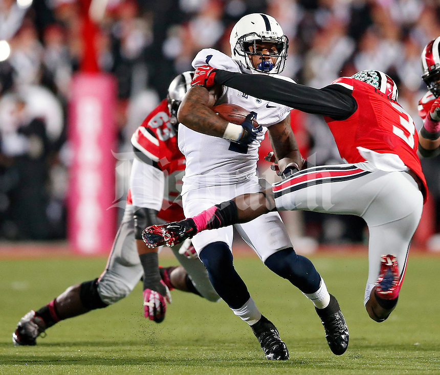 Ohio State Buckeyes defensive back Corey Brown (3) tackles Penn State Nittany Lions running back Bill Belton (1) in the 1st quarter at Ohio Stadium on October 26, 2013.  (Dispatch photo by Kyle Robertson)