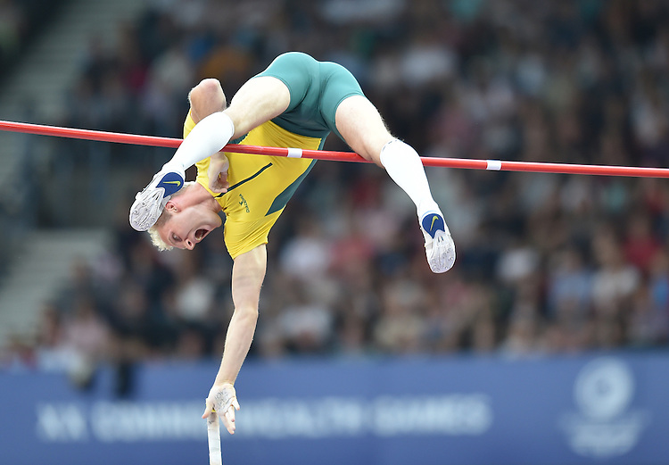Australia's Joel Pocklington competes in the men's pole vault final<br /> <br /> Photographer Chris Vaughan/CameraSport<br /> <br /> 20th Commonwealth Games - Day 9 - Friday 1st August 2014 - Athletics - Hampden Park - Glasgow - UK<br /> <br /> &copy; CameraSport - 43 Linden Ave. Countesthorpe. Leicester. England. LE8 5PG - Tel: +44 (0) 116 277 4147 - admin@camerasport.com - www.camerasport.com