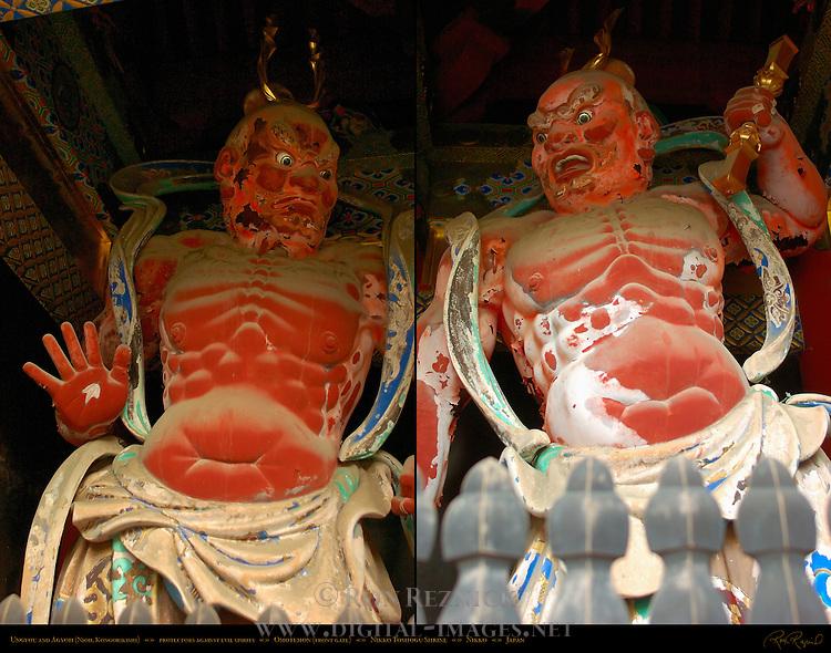 Agyoh and Ungyou Nioh Kongorikishi Guardians Omotemon Front Gate Composite Image Nikko Toshogu Shrine Nikko Japan