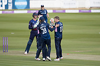 Stephen Eskinazi of Middlesex CCC congratulates George Scott of Middlesex CCC following the dismissal of Keaton Jennings during Middlesex vs Lancashire, Royal London One-Day Cup Cricket at Lord's Cricket Ground on 10th May 2019